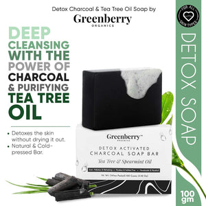 Greenberry Organics Detox Activated Charcoal Soap Bar, Tea Tree, Spearmint, Anti Pollution, Acne Control, Handmade & Handcut, Unisex, All Skin Type, Pack of 5,  100 Gram X 5 Bars
