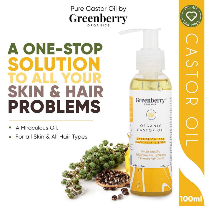Greenberry Organics Organic Castor Oil for Face Care, Hair Growth,Eyebrow Growth & Complete Body Moisturisation, 120 ML X 5 (Pack of 5)