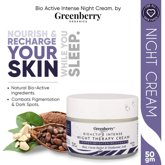 Greenberry Organics Bio Active Intense Night Therapy Cream with Shea, Cocoa Butter & Hyaluronic Acid, Lightens, Brightens & Rejuvenate, Anti-Ageing, Wrinkle Control, 50 Grams x 5 Jars, Pack of 5