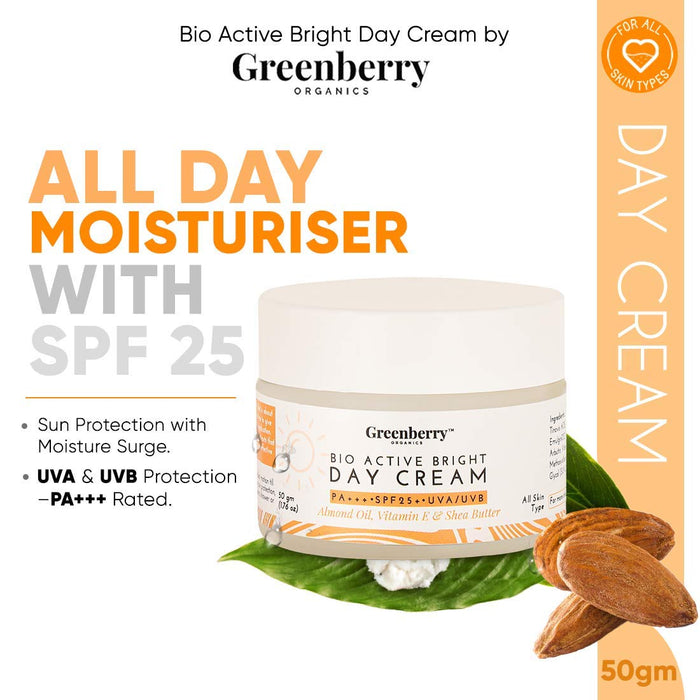 Greenberry Organics Bio Active Bright Day Cream with SPF 25 PA+++ UVA/UVB Protection, Organic & Natural, Unisex & All Skin Types, Pack of 5, 50 Grams x 5 Jars