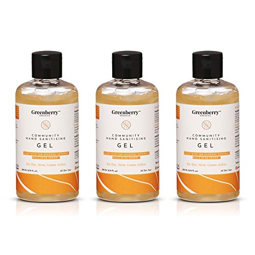 Greenberry Organics Community Hand Sanitising Gel, with 70% Isopropyl Alcohol, Aloe Vera Gel, 200 ML (Pack of 3)