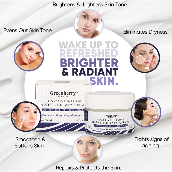 Bio Active Intense Night Cream for Pigmentation, Anti - Ageing & Wrinkles with Hyaluronic Acid 50 gm x 10 jars Pack Of 10