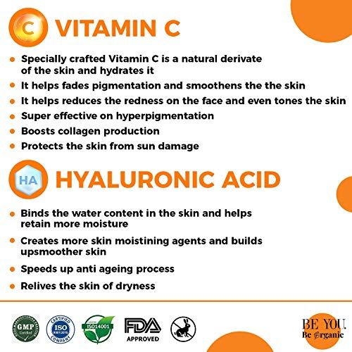 Greenberry Organics Vitamin C, Hyaluronic Acid & Gold Serum for Glow & Radiance, 15% Vitamin C, 5% Hyaluronic Acid, Natural & Organic, Men & Women, 30 ML Pack Of 2 - Greenberry Organics
