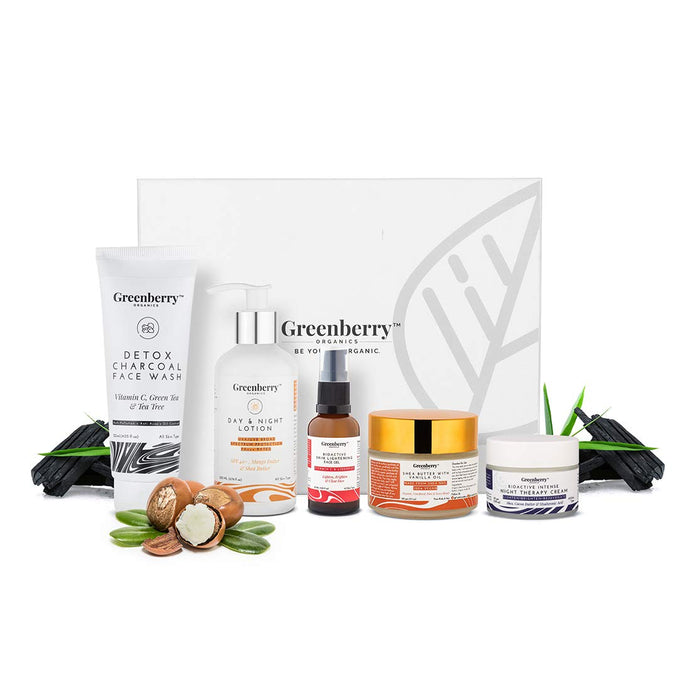 Greenberry Organics Perfect Clear Skin Box with 5 Full Size Products, Works on Wrinkles, Pigmentation, Acne, Tan, Healthy, Brightened, Lightened & Clear Skin, Set of 5 Products, (All Skin Types) - Greenberry Organics
