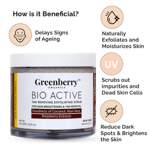 Bio Active Tan Removing Exfoliating Scrub for Pigmentation & Tan Removal - Greenberry Organics