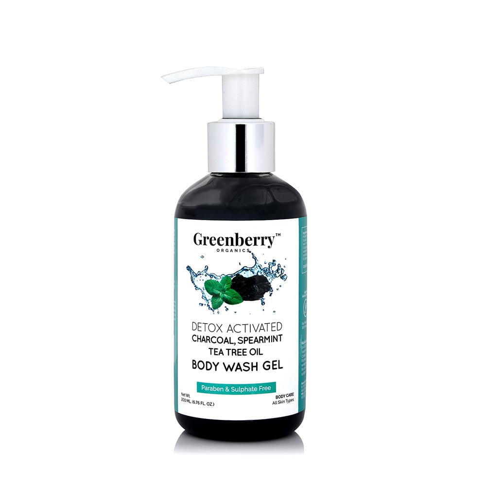Activated Charcoal, Tea Tree and Spearmint Oil Body Wash Gel - Greenberry Organics