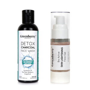 Detox Charcoal Face Wash and Bio Active Skin Lightening Face Gel - Greenberry Organics