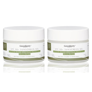 Greenberry Organics SPF 50+ Sunscreen Gel with UVA/UVB Broad Spectrum Protection, PA+++ For Men & Women, Aloe Vera, Cucumber & Neroli Actives, All Skin Types, 50 Gms