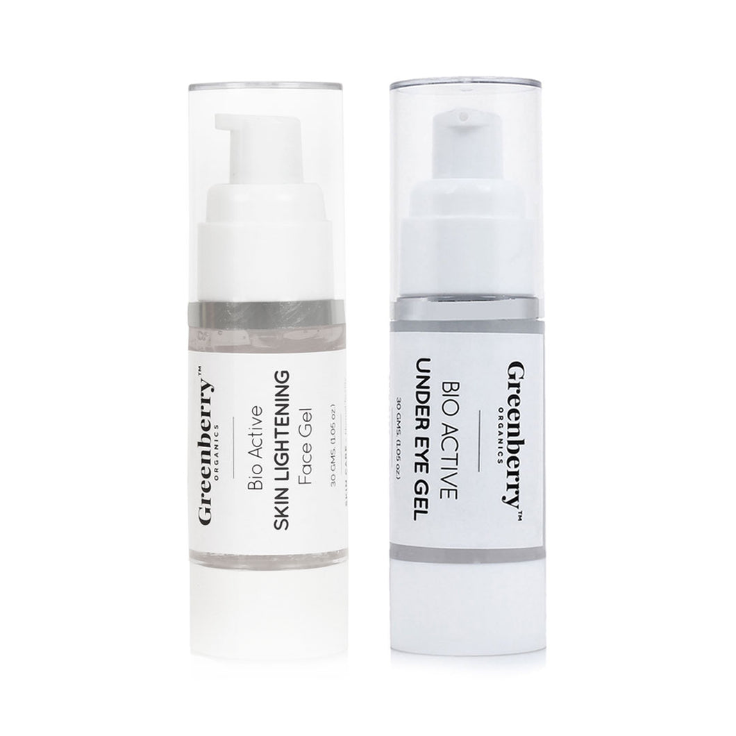 Bio Active Skin Lightening Face Gel and Bio Active Under Eye Gel Combo - Greenberry Organics