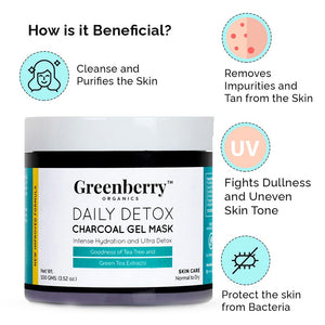 Daily Detox Charcoal Gel Mask with Green Tea & Tea Tree Extracts - Greenberry Organics
