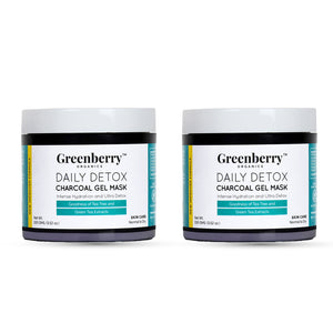 Daily Detox Charcoal Gel Mask With Tea Tree And Green Tea Extracts | Oil Free, Acne Free Skin - Pack of 2 - Greenberry Organics