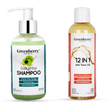 Daily Mild Shampoo & 12 in 1 Hair Tonic Oil Combo - Greenberry Organics