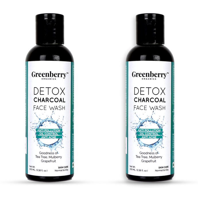 Detox Charcoal Face Wash - Pack of 2 - Greenberry Organics