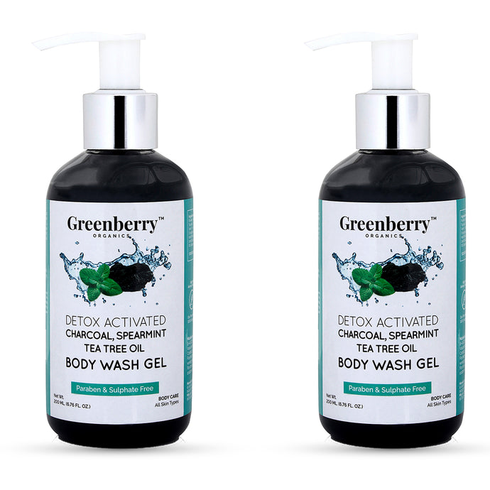 Activated Charcoal, Tea Tree and Spearmint Oil Body Wash Gel - Pack of 2 - Greenberry Organics