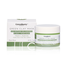Greenberry Organics Brazilian Rainforest Green Clay Mask, Green Tea, Tea Tree, Vitamin C, Hyaluronic Acid, Anti-Acne Mask, Skin Clarifying, All Skin Types, 50