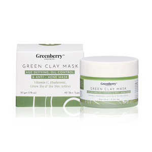 Greenberry Organics Brazilian Rainforest Green Clay Mask, Green Tea, Tea Tree, Vitamin C, Hyaluronic Acid, Anti-Acne Mask, Skin Clarifying, All Skin Types, 50 Grams Pack of 2 - Greenberry Organics