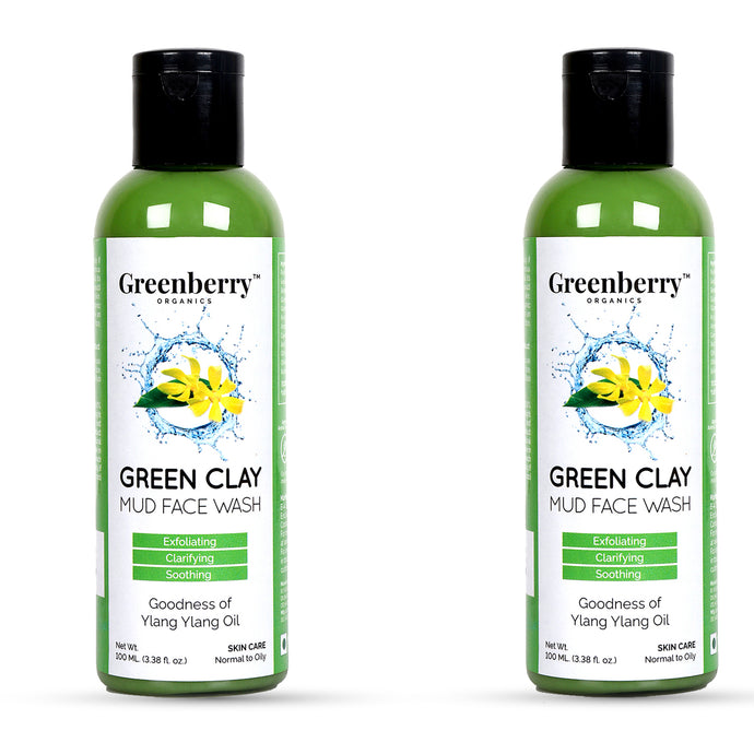 Green Clay Mud Face Wash - Pack of 2 - Greenberry Organics