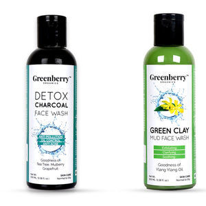 Detox Charcoal Face Wash & Green Clay Mud Face Wash Combo