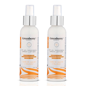 SPF 40+ Sunscreen Spray Lotion PA+++ UVA/UVB Protection 120 ML - Pack Of 2 - Greenberry Organics