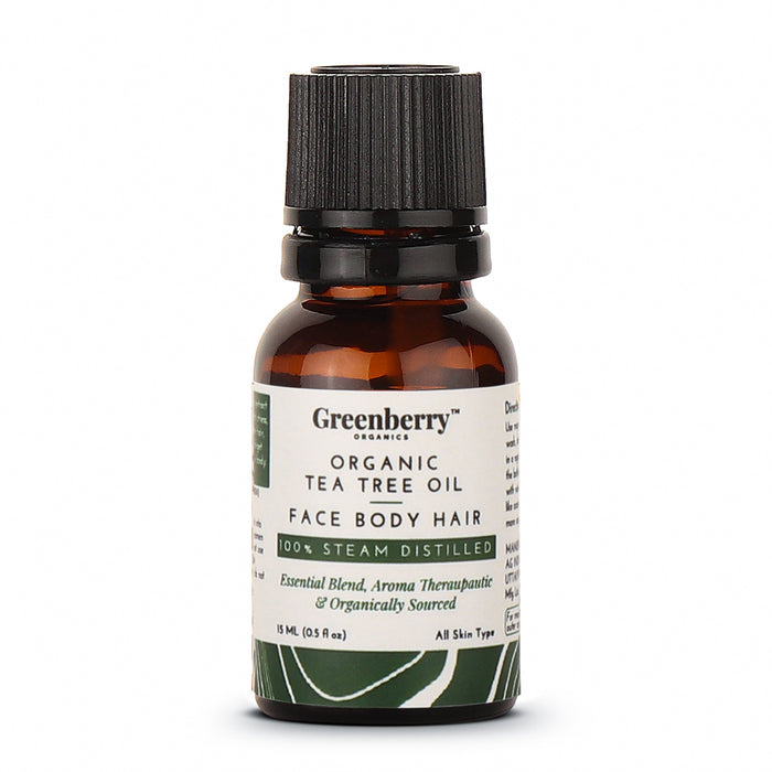 Organic Tea Tree Oil  - 15 ML for Acne Control, Dandruff Control & Daily Use - Greenberry Organics