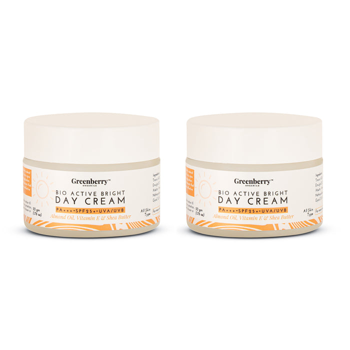 Bio Active Bright Day Cream with SPF 25+ PA+++ UVA/UVB Protection - Pack of 2 - Greenberry Organics