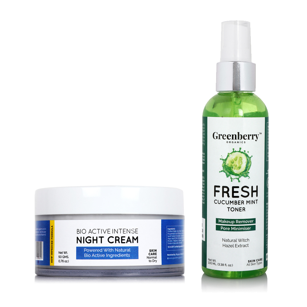 Fresh Cucumber Mint Toner and  Bio Active Intense Night Cream Combo - Greenberry Organics
