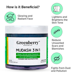 Mudash 3 In 1 - Face Mask, Scrub and Cleanser™