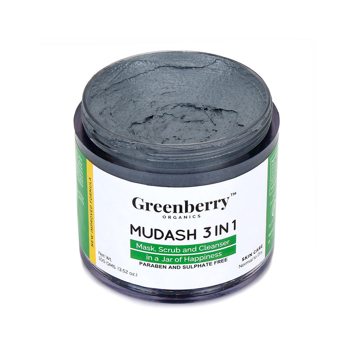 Mudash 3 In 1 - Face Mask, Scrub and Cleanser™ - Pack of 2 - Greenberry Organics