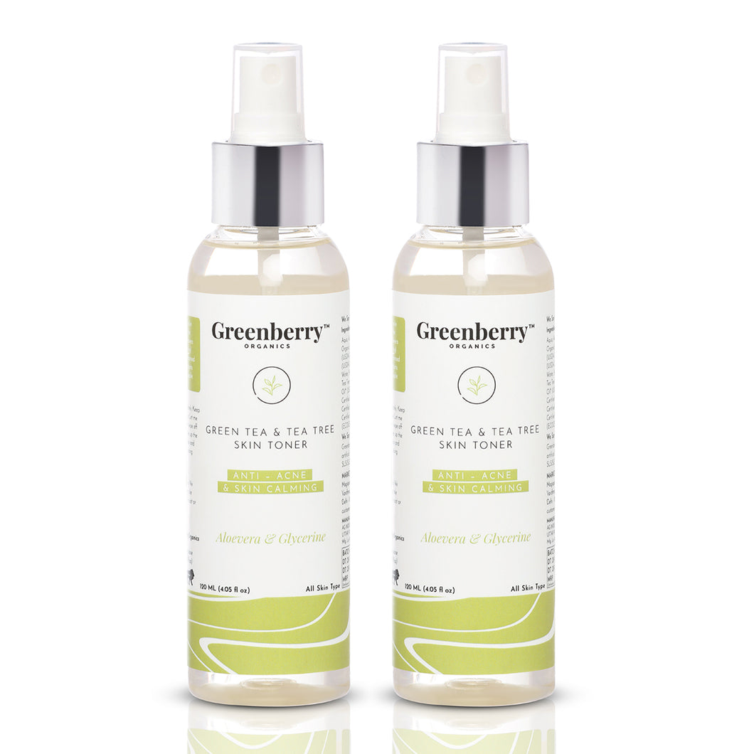 Green Tea & Tea Tree Skin Toner Anti - Acne & Skin Calming With Aloevera & Glycerine - Pack Of 2 - Greenberry Organics
