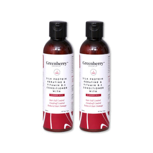 Greenberry Organics Silk Protein, Keratin & Vitamin B-5 Conditioner with Blended Oils for Hair Fall Control, Dandruff Control, Reduced Hair Damage - 200 ML Pack Of 2
