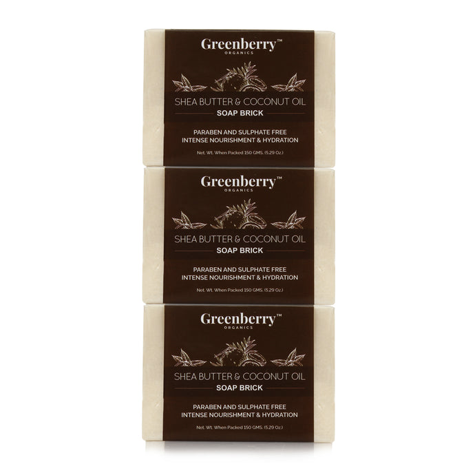 Shea Butter and Coconut Oil Soap Brick - Pack of 3 - Greenberry Organics