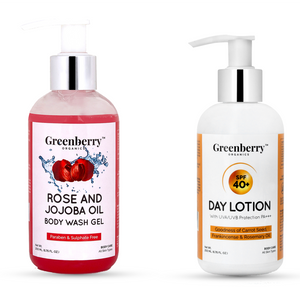 Rose and Jojoba Oil Body Wash & SPF 40+ Day Lotion Combo