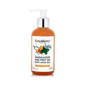 Sandalwood & Mint Oil Body Wash Gel - Greenberry Organics