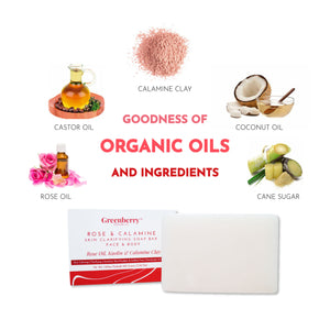 Greenberry Organics Rose & Calamine Face & Body Soap with Real Rose Extracts & 10% Calamine Clay Extracts, Soothes Irritation, Smooth Skin, Spot Treatment, All Skin Type, Unisex, 100 Grams Pack Of 2
