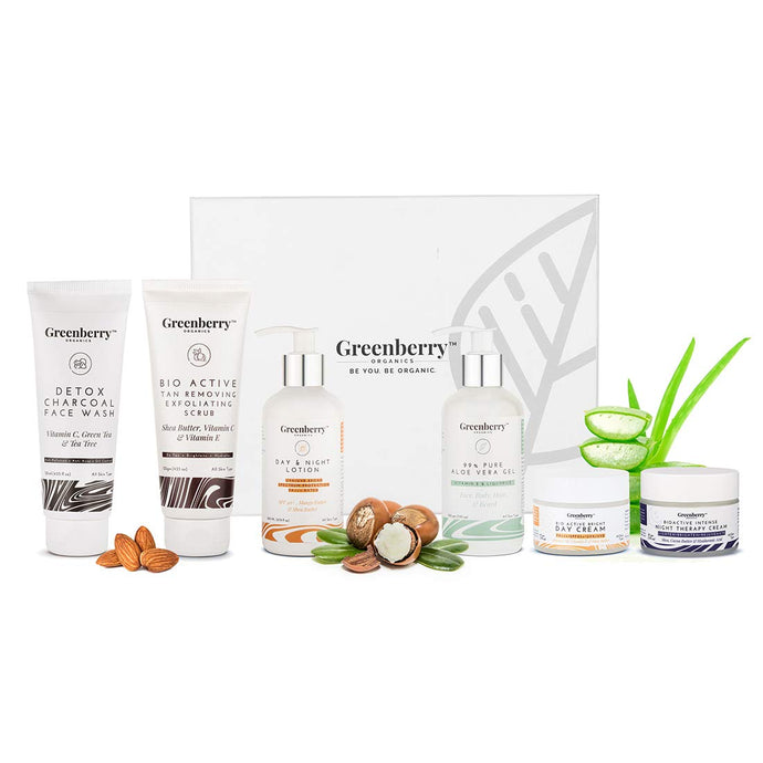 Greenberry Organics Complete Day & Night Skin Care Routine Box with 6 Full Size Products, Works on ensuring clear, spot free, wrinkle free, clean and hydrated skin, Set of 6 Products, All Skin Types - Greenberry Organics