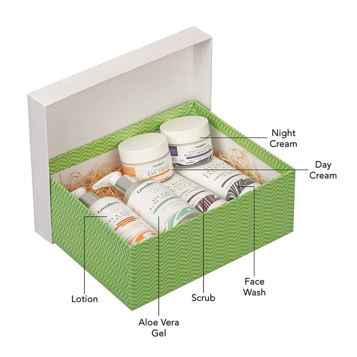 Greenberry Organics Complete Day & Night Skin Care Routine Box, Set of 6 Products, All Skin Types - Greenberry Organics