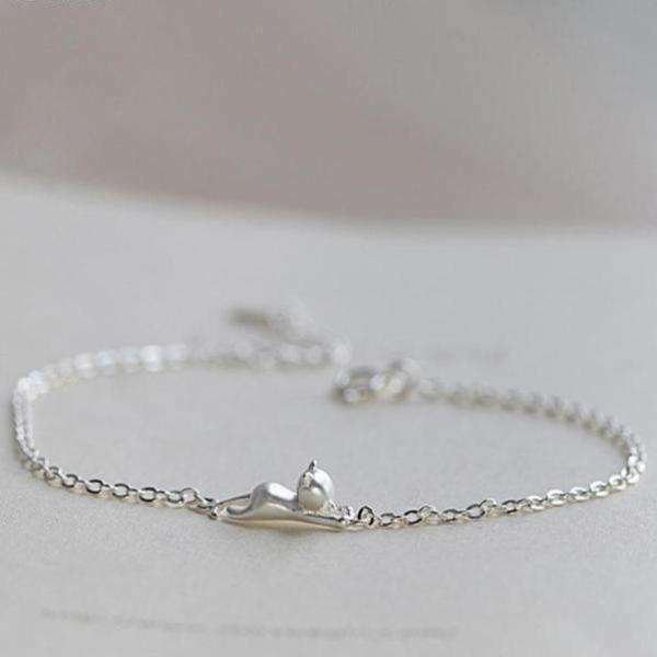 Bracelet chat-dorable en argent 925 - Le chat Mallow