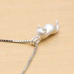 Collier chat suspendu en argent 925 - Le chat Mallow