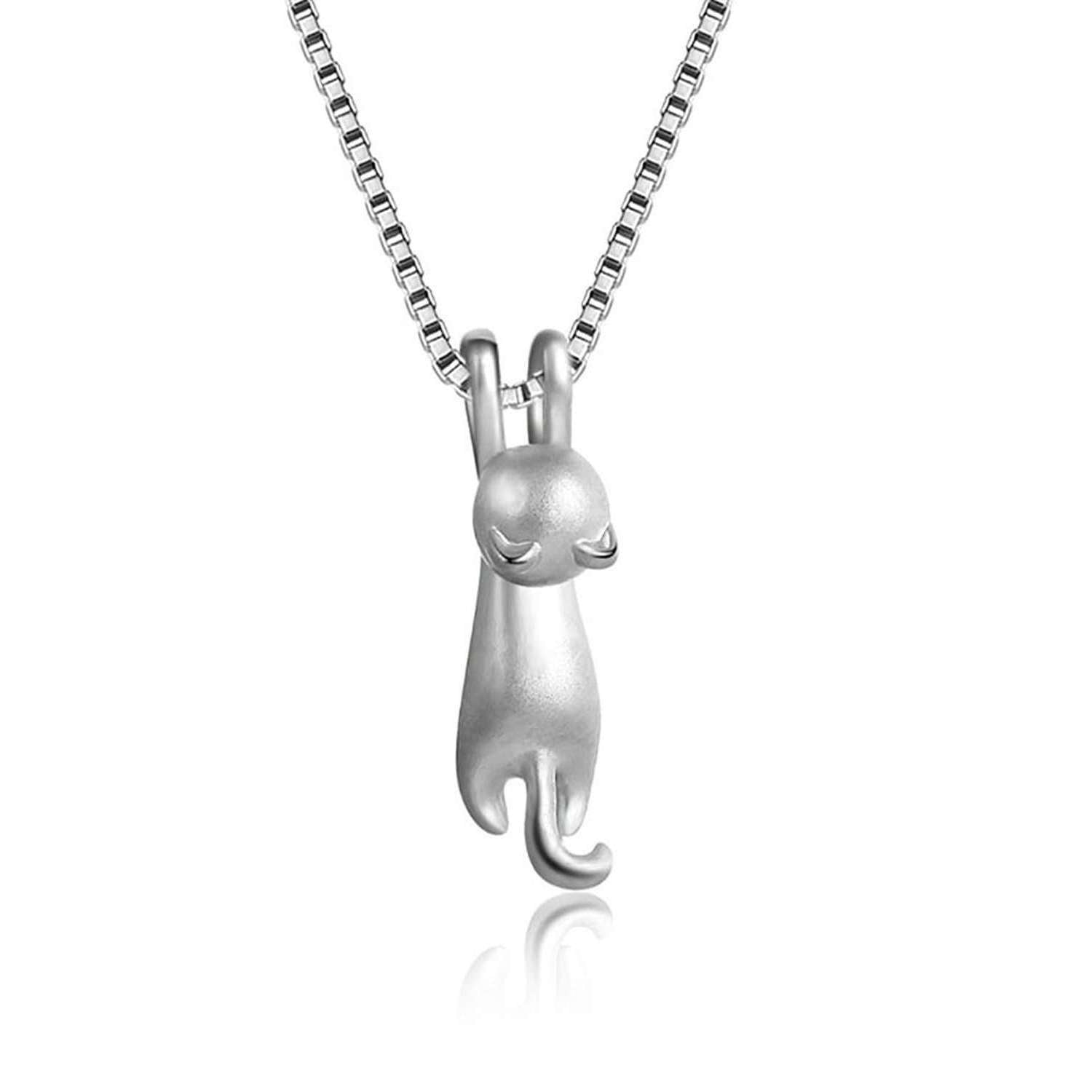 Collier chat suspendu en argent 925 - Granitée - Le chat Mallow