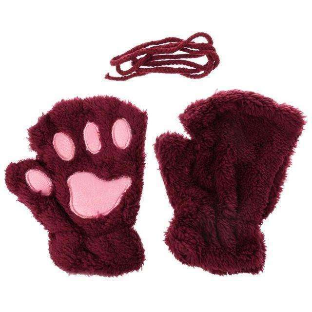 Gants pattes de chat - Lie de Vin - Le chat Mallow