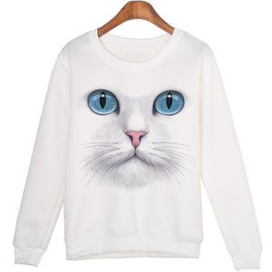 Sweatshirt Tête de Chat - White / S - Le chat Mallow