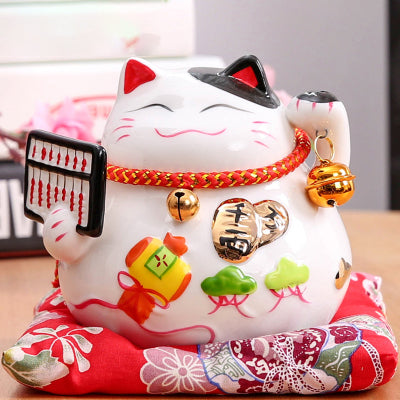 Tirelire Maneki Neko en porcelaine - Le chat Mallow