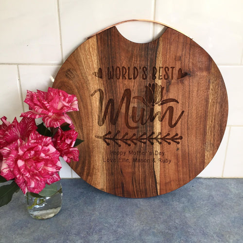 Worlds Best Mum Large Rose Gold Handle Serving Board