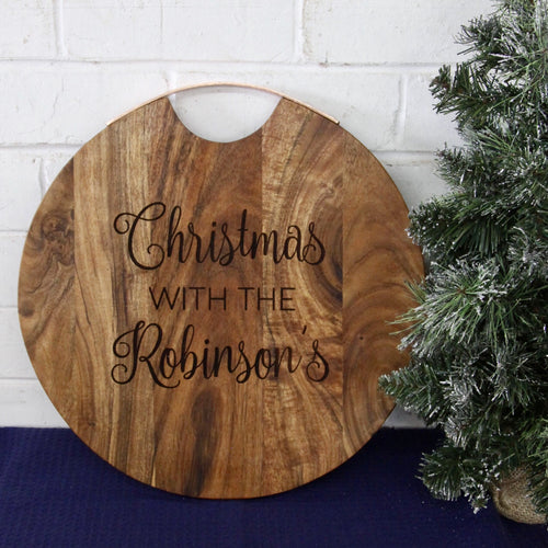 Large Rose Gold Handle Round Christmas Serving Board