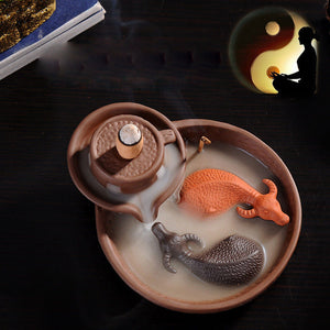 Yin Yang Cows BackFlow Incense Burner