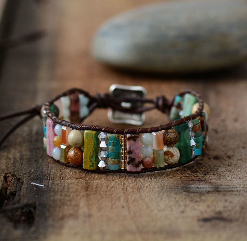 Dazzling Multicolored  Natural Stone and Leather Bracelet