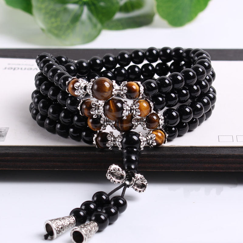 Tiger's Eye And Black 108 Bead Mala