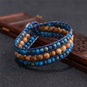 Natural Stone  Leather Wrap Bracelet