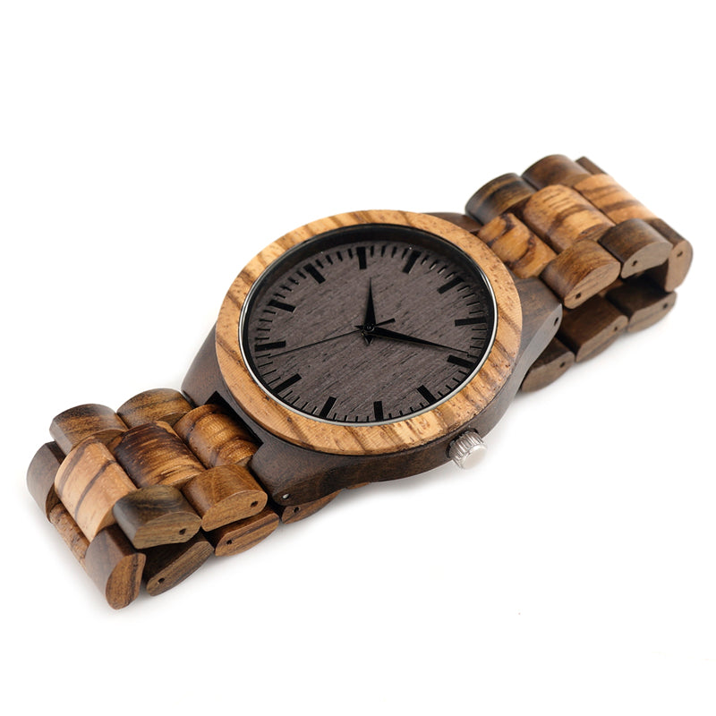 BOBO Bird Bamboo Watch For Men Zebra Face