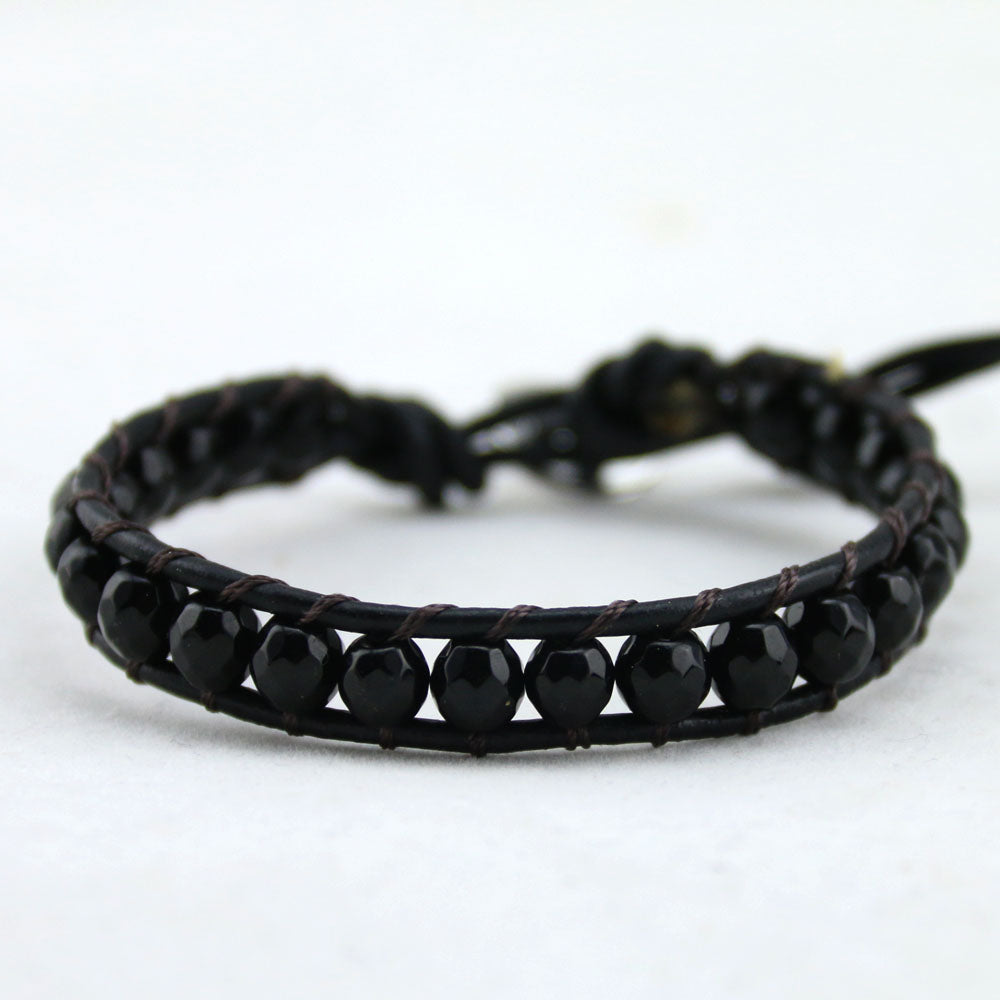 Black Onyx Natural Stone Weaving Bracelet